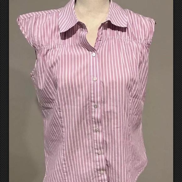 6d6862c1048854 Talbots Tops | Striped Sleeveless Button Down Top Size 12 | Poshmark